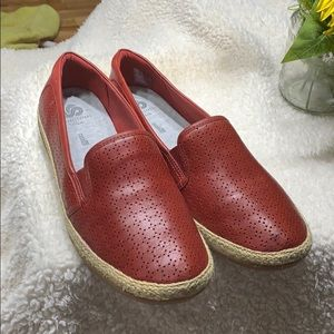 Clark's red loafers
